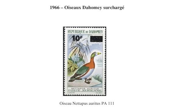 1966 oiseaux dahomey surcharge