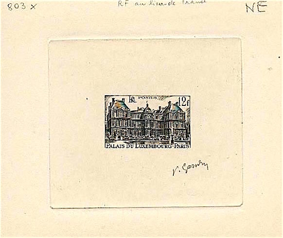 France 1948 yvert 803a scott 591 unadopted palais du luxembourg 12f black aa ap
