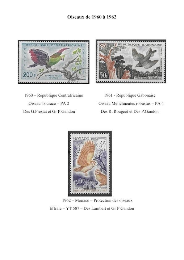 Oiseaux de 1960 a 1962