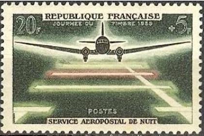 Timbre france yvert no 1196 journee du timbre service aeropostale de nuit