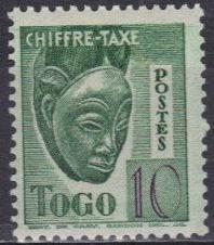 Togo 1942 masque timbre taxe 10 c vert jaune neuf sans rf 941084117 ml 2